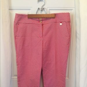 Ann Klein red and white crop pants